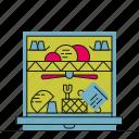 dishwasher, kitchen, washing up, water icon