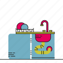 kitchen, sink, washing, water icon