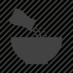 adding, cooking, ingredient, salt, sodium, spice, white icon