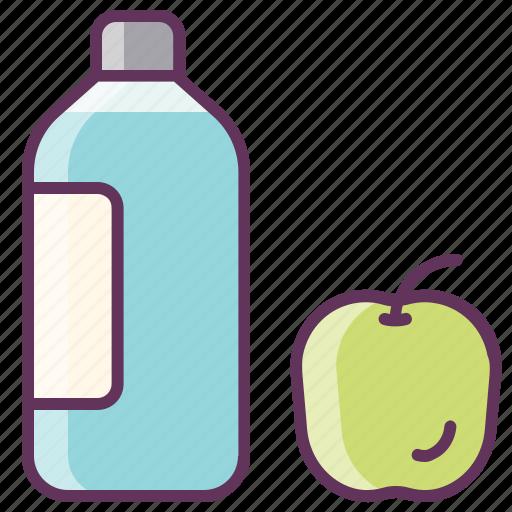 apples, bottle, breakfast, drink, fruit, lunch, water icon