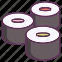 food, japanese, maki, makizushi, roll, set, sushi icon