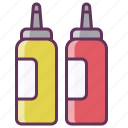 fastfood, food, ketchup, ketchup bottle, mustard, sauce icon