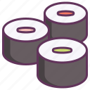 food, japanese, maki, makizushi, roll, set, sushi icon
