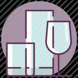 crystal, glass, kitchen, restaurant, serving, tableware icon