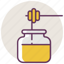 bee, food, honey, jar, pot, recipient, sweet icon