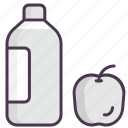 apples, bottle, breakfast, drink, fruit, lunch, water icon