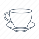cafe, cup, dish, dishes, drink, plate, saucer icon