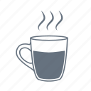 coffee, cup, drink, glass, hot, kitchen, steam icon