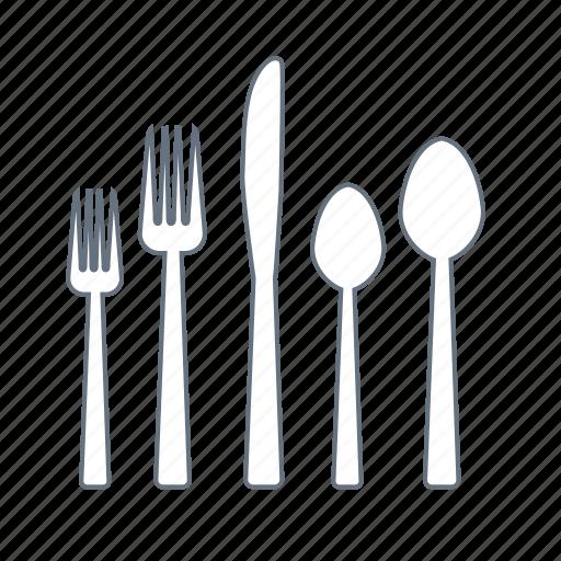 cafe, dinner, eat, forks, knife, restaurant, spoons icon