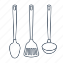 cook, kitchen, ladle, soup ladle, spatula, spoon