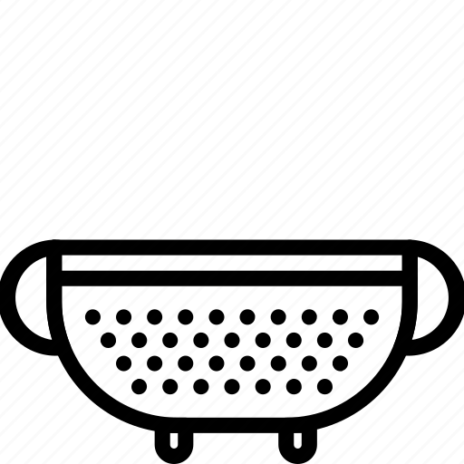 colander, kitchen, objects, outline, utility icon