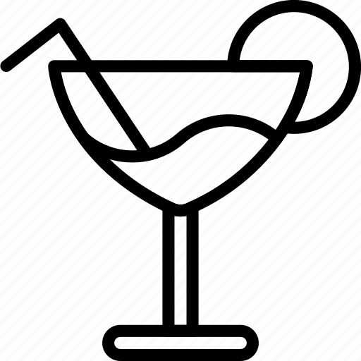 cocktail, drink, glass, kitchen, objects, outline icon