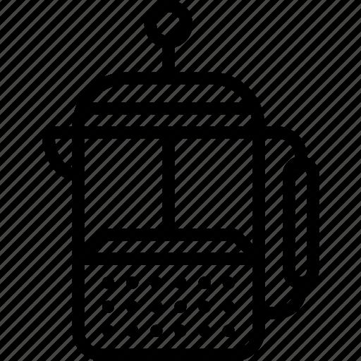 kitchen, objects, outline, percolator, tea icon
