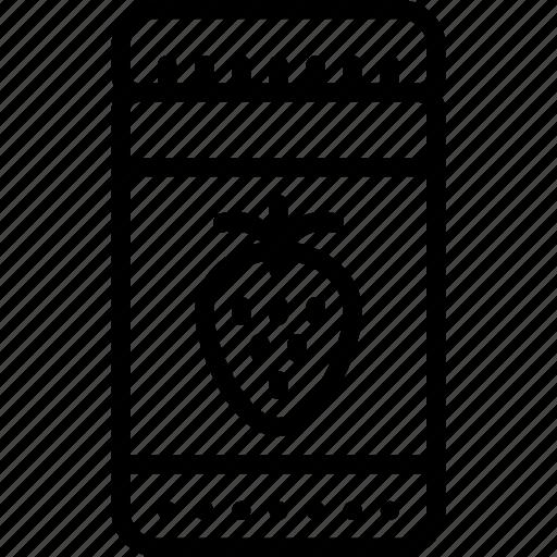 jam, jar, kitchen, objects, outline, strawberry icon