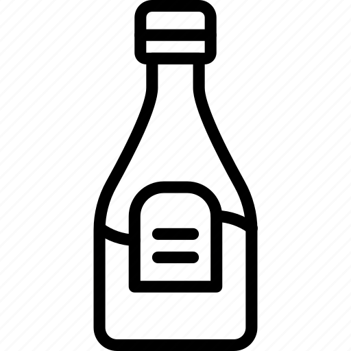 bottle, condiments, hp, kitchen, objects, outline, sauce icon