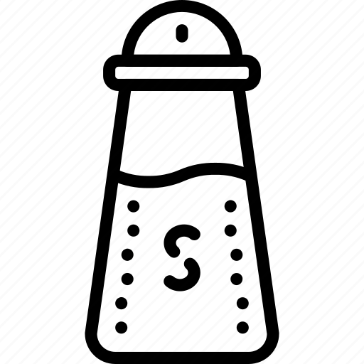 condiments, condoments, kitchen, objects, outline, salt, seasoning icon
