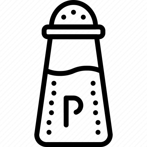 condiments, kitchen, objects, outline, pepper, seasoning icon