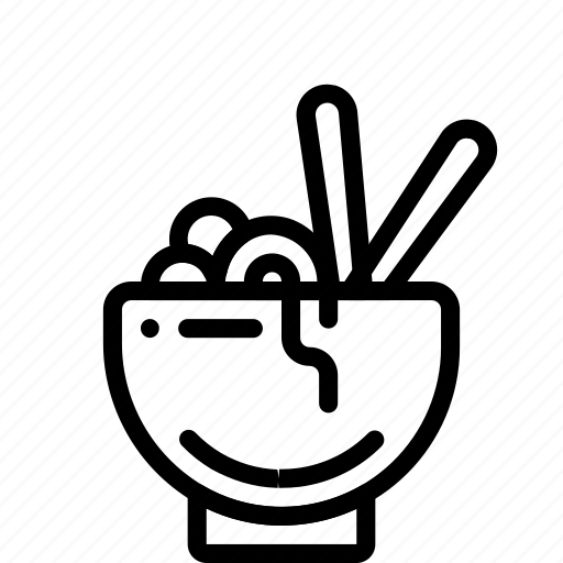 bowl, food, kitchen, noodles, objects, outline icon