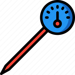 kitchen, meat, objects, thermometer, ultra, utility icon
