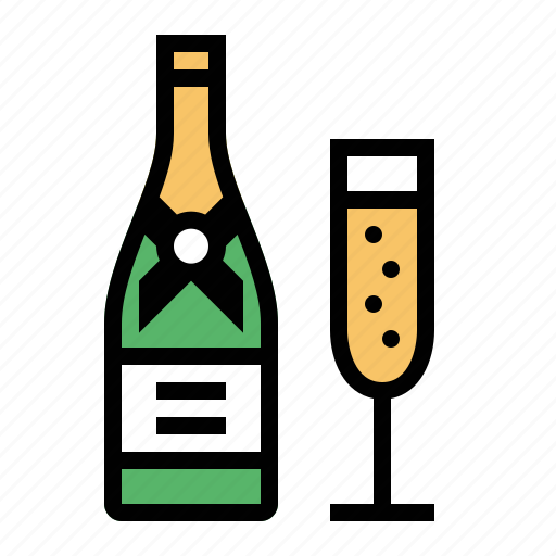alcohol, bottle, celebrate, champagne, glass, toast, wine icon
