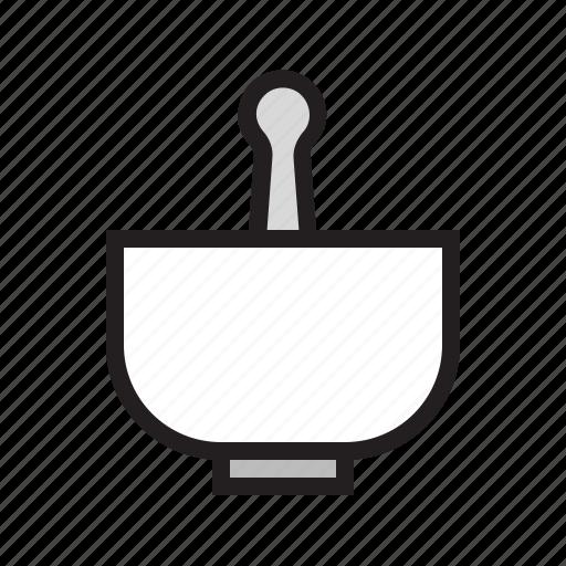 blend, filled, food, kitchen, mortar, pestle, utensil icon