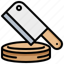 block, cleaver, kitchen, tool icon