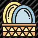 basket, dinnerware, dish, dishware, plate
