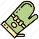 gloves, hot, microwave, protection, resistance icon