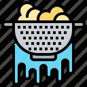 bowl, colander, drain, vegetable, washing icon