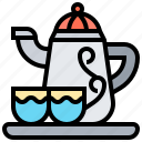 teapot, crockery, cups, drink, hot icon