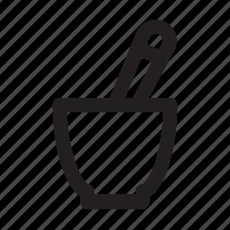grind, kitchen, medicine, mix, mortar, mortar and pestle, pestle icon