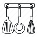 isolated, ladle, line, outline, spatula, utensil, whisk icon