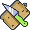 blade, board, cooking, cutting, kitchen, knife, wood icon