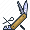camping, hiking, kitchen, knife, outdoors, pocket, tool icon