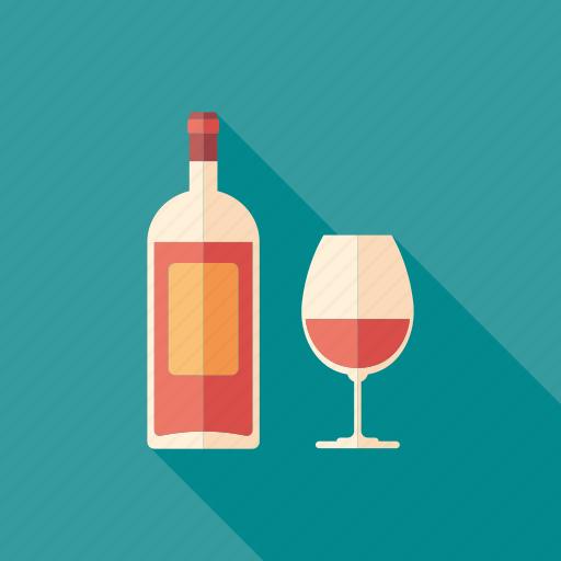 alcohol, beverage, bottle, glass, liquid, rose, wine icon