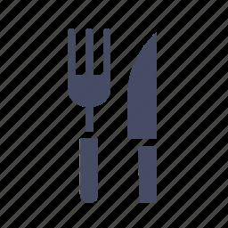 cutlery, eat, food, fork, knife, tableware icon