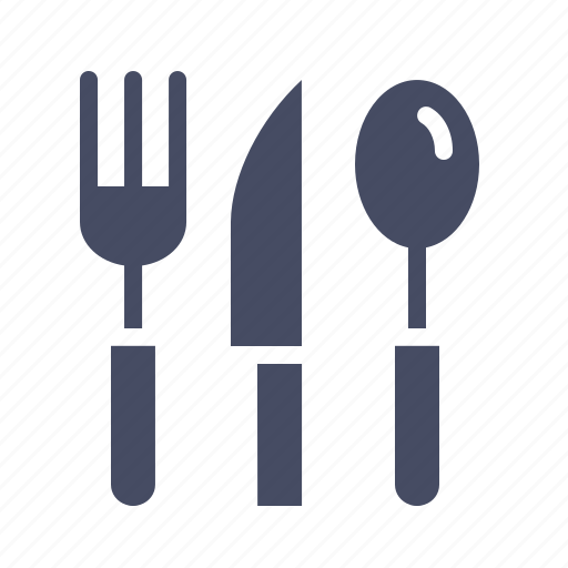 cutlery, eat, food, fork, knife, spoon, tableware icon