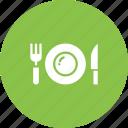 breakfast, dinner, eat, fork, knife, plate, restaurant icon