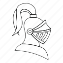 armor, helmet, knight, line, medieval, metal, outline icon