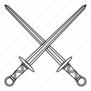 blade, line, medieval, outline, sharp, sword, weapon icon