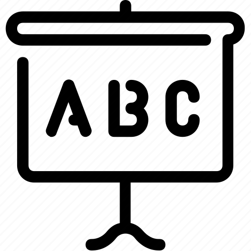 abc, alphabet, education, learning, whiteboard icon