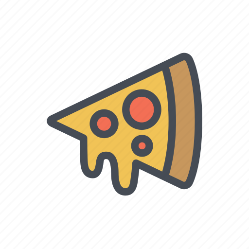 melted cheese, pizza, street food icon