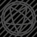 pentagram, paganism, occultism, star, vertex, circle, round icon