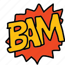 bam, banners, cartoon, comic, labels icon