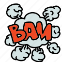 bam, banners, cartoon, cloud, comic, labels, smoke icon