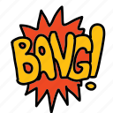 bang, banners, cartoon, comic, labels icon