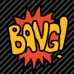 bang, banners, cartoon, comic, labels icon