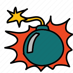 banners, bomb, cartoon, comic, labels icon