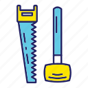day, hammer, labor, labour, saw icon
