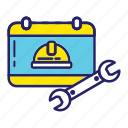 day, halmet, labor, labour, wrench icon